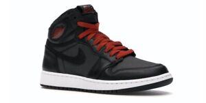 New-Nike-Air-Jordan-1-One-Black-Satin-Size-4-Y-Grade-School-GS-Youth-575441-060