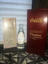 CRYSTAL COCA COLA BOTTLE CELEBRATING TIMELESS REFRESHMENT WITH COA 2799 OF 5000