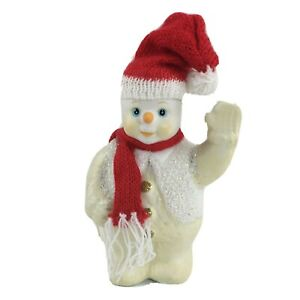 Christmas-Snowman-Figurine-Winter-Holiday-Home-Decor-Red-Knit-Hat-Scarf-Glitter