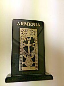 Armenia Black Glass Plaque Silver Overlay Decorative Arts