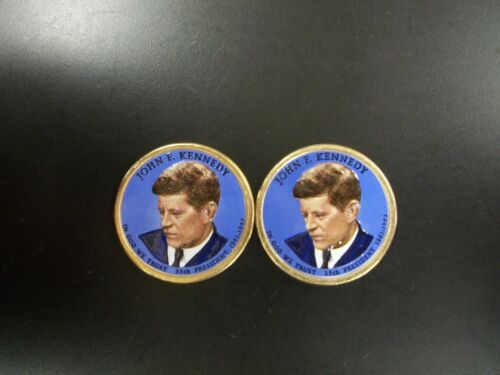 Two 2015 John F Kennedy Colorized Presidential Dollars P and D Mint Pairs