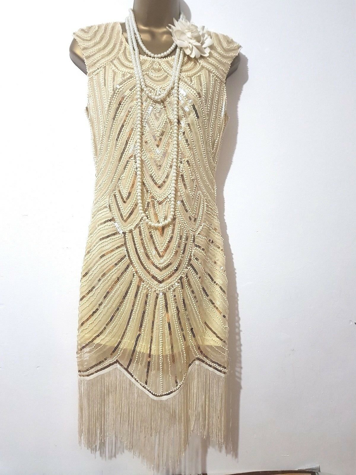 VINTAGE 20'S GATSBY FLAPPER CHARLESTON FRINGE TASSLE EMBELLISHED DRESS UK S