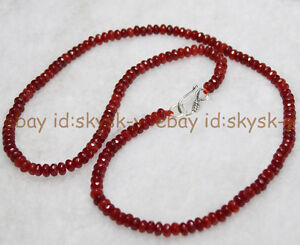 Fine-2x4mm-Brazil-Red-Ruby-Faceted-Roundel-Gems-Beads-Necklace-Silver-Clasp-AA