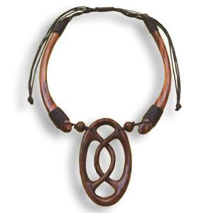 Halskette-Anhaenger-Kette-Choker-Handarbeit-Holz-Design-N111