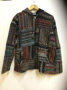 New-Mens-XL-Lined-Hooded-Festival-Hippie-Boho-Warm-Winter-Jacket