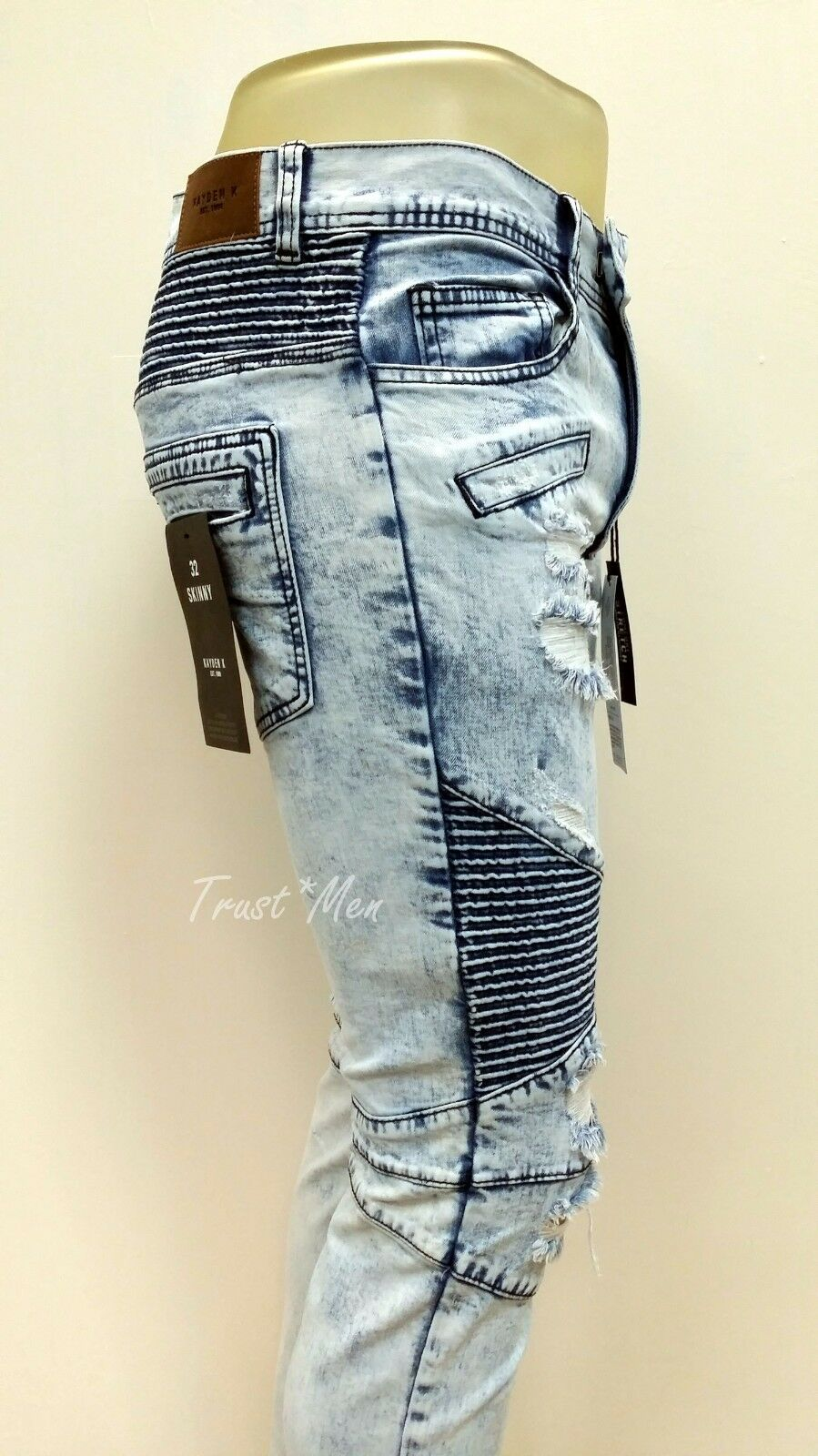 KAYDEN.K Men's Premium Distress Skinny Fit Moto Biker Jeans Pants Ice bluee 4010