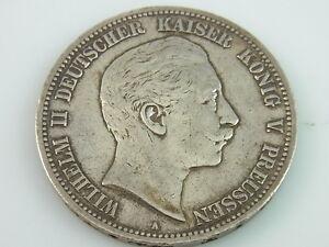 5 Mark Wilhelm Ii Deutscher Kaiser König V Preussen Silber Münze A