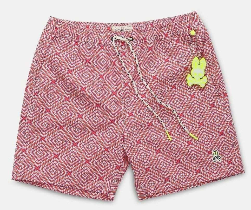 Psycho Bunny Men's Raspberry Pink Outlined Diamond Print Swim Trunks