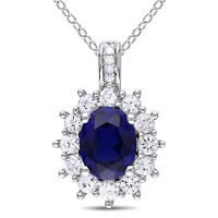 Sterling Silver Diamond Blue And White Sapphire Pendant Necklace G-h I3 4.2 on sale