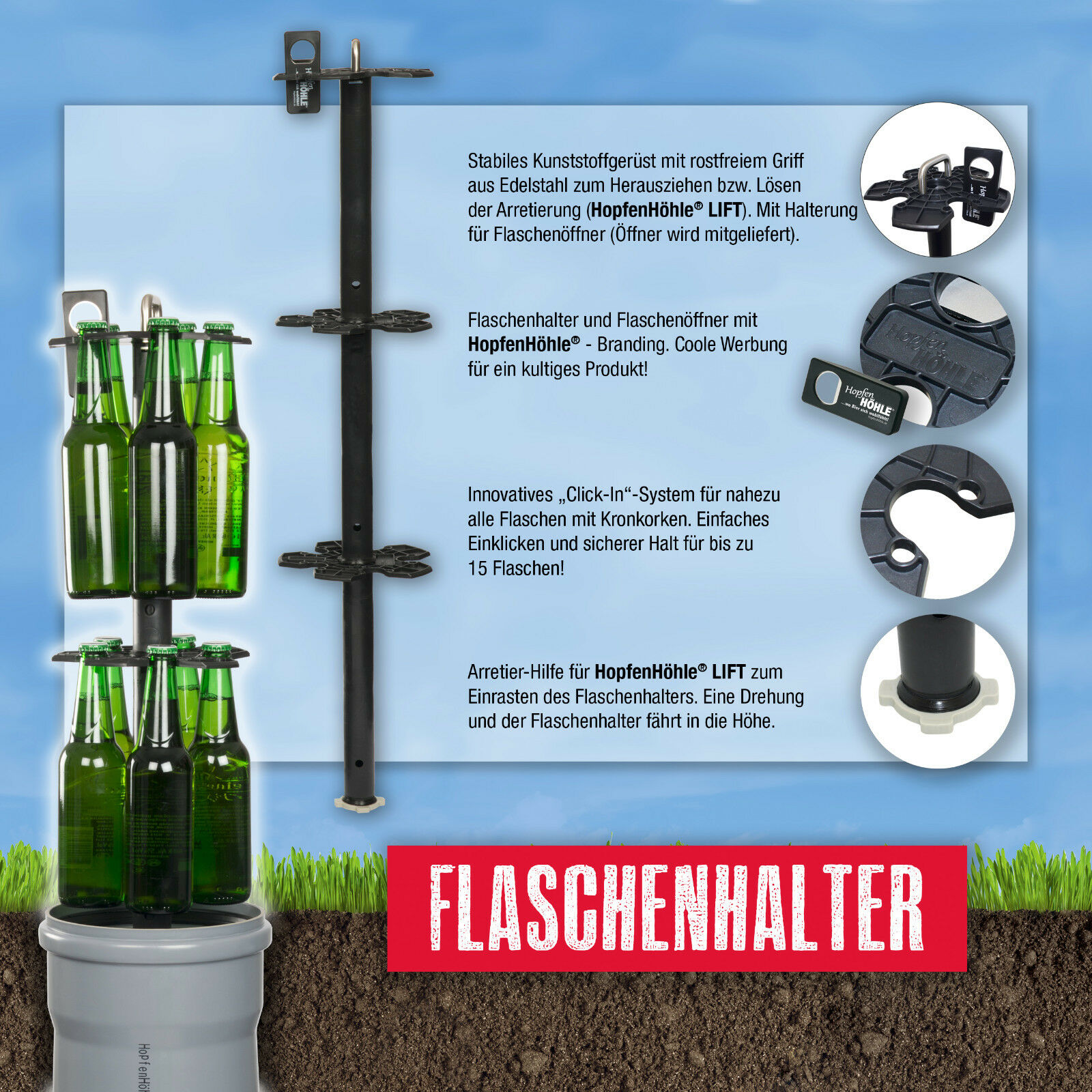 HopfenHöhle LIFT - Das Erdloch Original: Outdoor Erdloch Das Bierkühler mit Hebesystem e2e882
