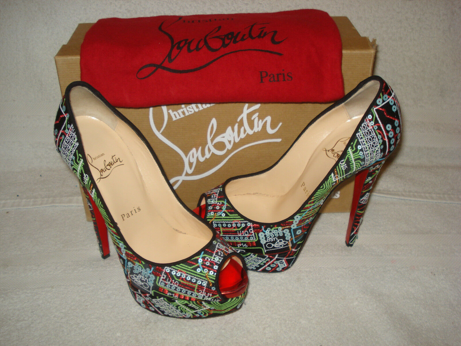 100% AUTH AUTH AUTH NEW WOMEN LOUBOUTIN LADY PRIVE PEEP GEEK PLATFORM PUMPS HEELS US 6 1fe188