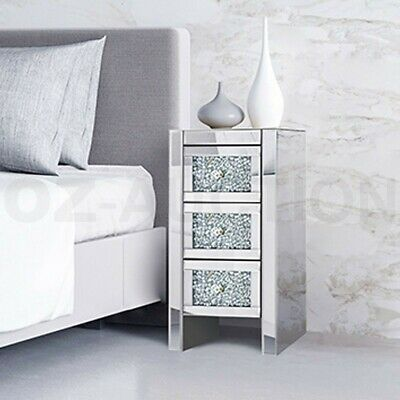 Details about  Modern Bedside Table Slim Crushed Diamond 3-Drawer Cabinet Mirrored Furniture
