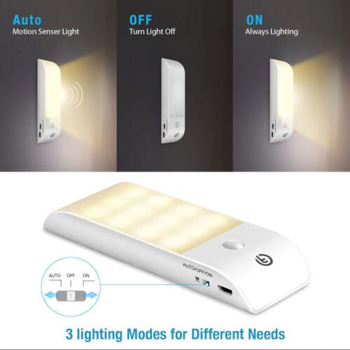 Motion Sensor Night Light Cupboard USB Rechargeable Battery LED Night Light Lamp