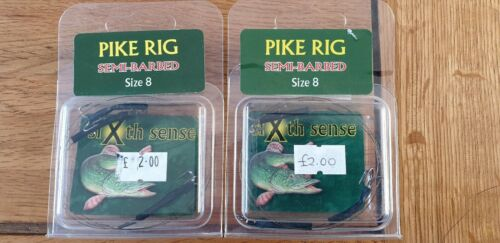 Pike Fishing Rigs Wire Trace with Semi Barbed size 8 Treble Hooks
