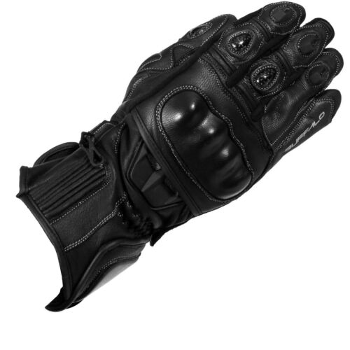 Buffalo Troy Leather Motorbike Motorcycle Gloves Vented Armour Protection Black