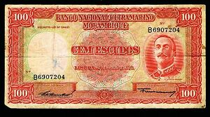 Mozambique  Banknotes 100 escudos 1958 P107 FINE/AVF
