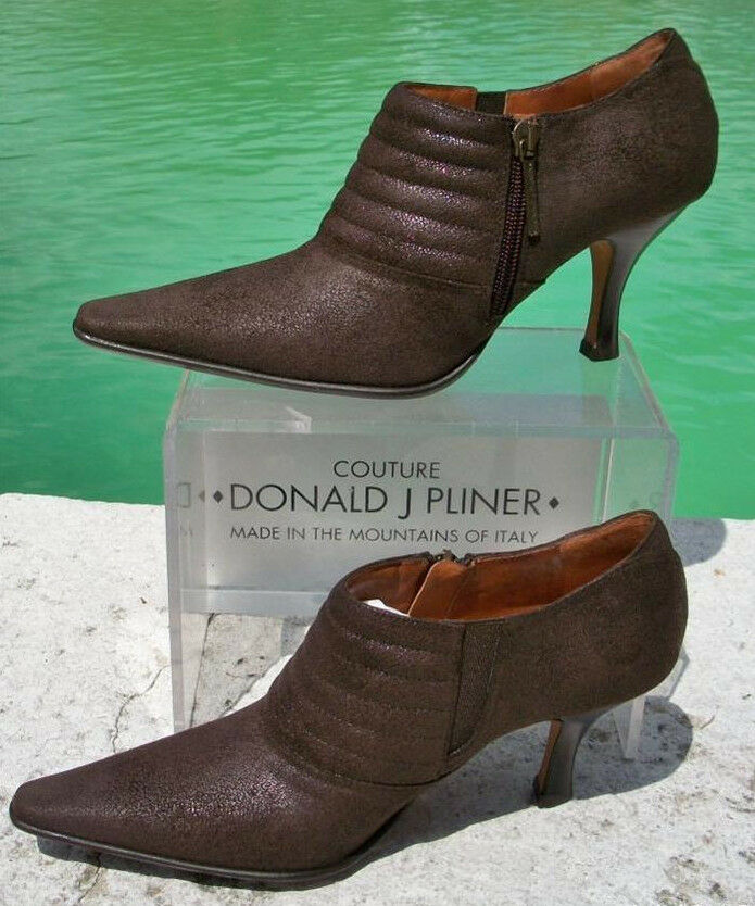 Zapatos de Cuero Donald Pliner Metálico Bomba de de gamuza NUEVO 5.5 8 botín Elástico  Nuevo En Caja