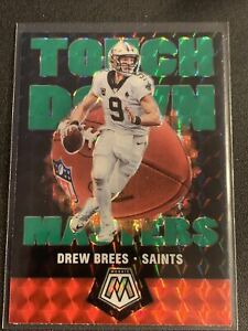 Drew Brees 2020 Mosaic Touchdown Masters Green Prizm SP Refractor Card #TM1