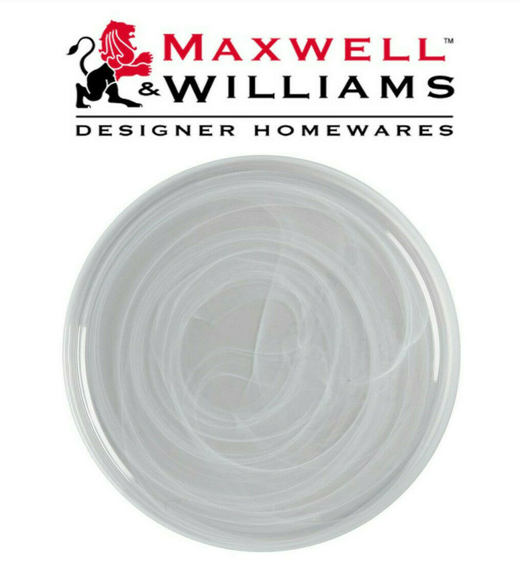 Maxwell & Williams Marblesque X-Large 39cm White Glass Serving Display Plate