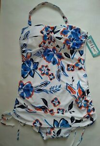 M&s Geheimnis Schlank Weiß Blau Floral Badeanzug Bandeau Neckholder Größe Size 8