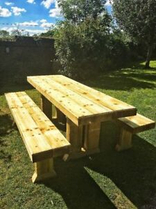 Awesome Details About Handcrafted Straight Leg Wooden Tanalised Sleeper Garden Furniture Set Seats 12 Download Free Architecture Designs Terstmadebymaigaardcom