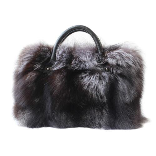 Womens Genuine Cowhide Extra Large Handbag Full-pelt Fox Fur Large Shoulder Bags