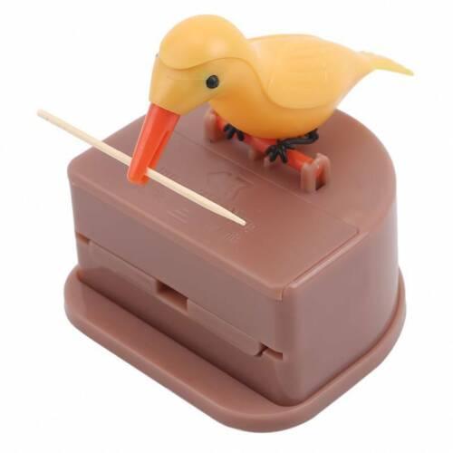 Automatic Toothpick Box Cartoon Bird Push Type Hummingbird Holder Dispenser LP