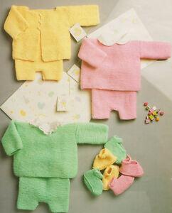 Easy Garter Stitch Baby Cardigan Pants Shoes 16 18 Dk Knitting