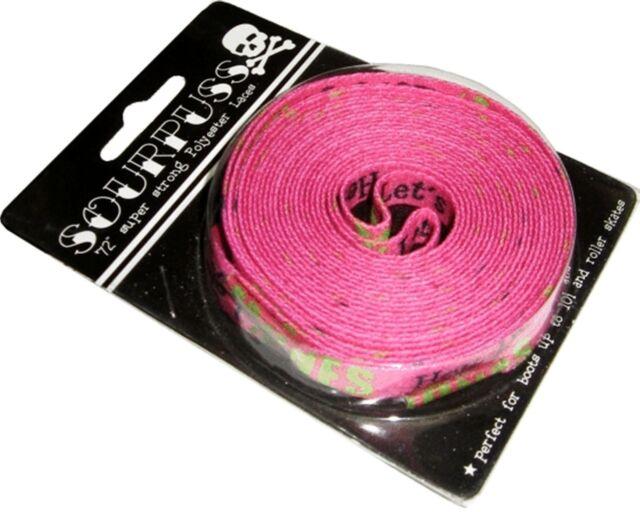 "66007 47/"" Long Black Shoe Laces Pink Skulls Sourpuss Punk Rock Roller Derby NEW"