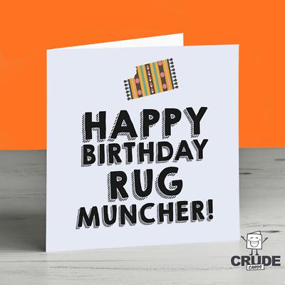 Rug Muncher Birthday Card - Crude