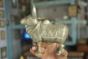 Old-Brass-Handcrafted-Inlay-Engraved-Ox-Nandi-Cow-Shape-Holy-Water-Pot