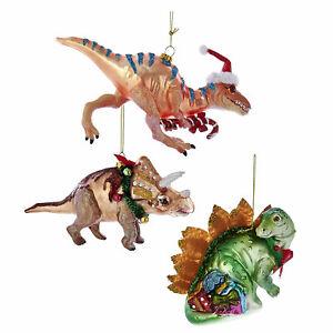 Set-3-Kurt-Adler-Dinosaur-T-Rex-Triceratops-Christmas-Tree-Ornaments-Boy-Gift