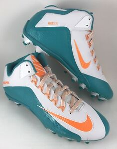 Nike Alpha Pro 2 3/4 D Skin MENS 14 Teal/White /Orange Football Spikes Cleats