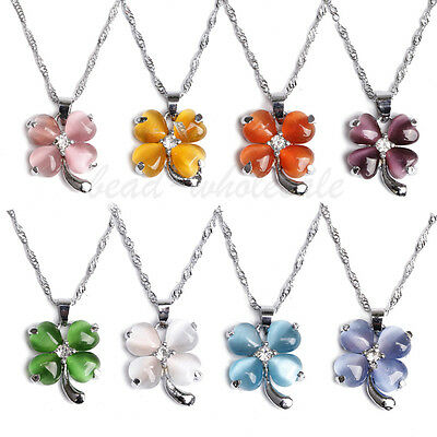 Cat's eye Opal Heart Clear Crystal Four-leaf Silver Plated clover Necklace18KGP