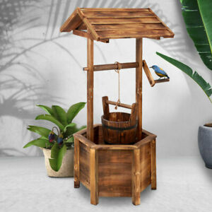 Garden-Wishing-Well-Wooden-Charming-Rustic-Decor-Vintage-Look-Patio-Wedding-NEW