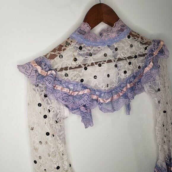Handmade Lace Cover Fairycore White and Lilac Siz… - image 8