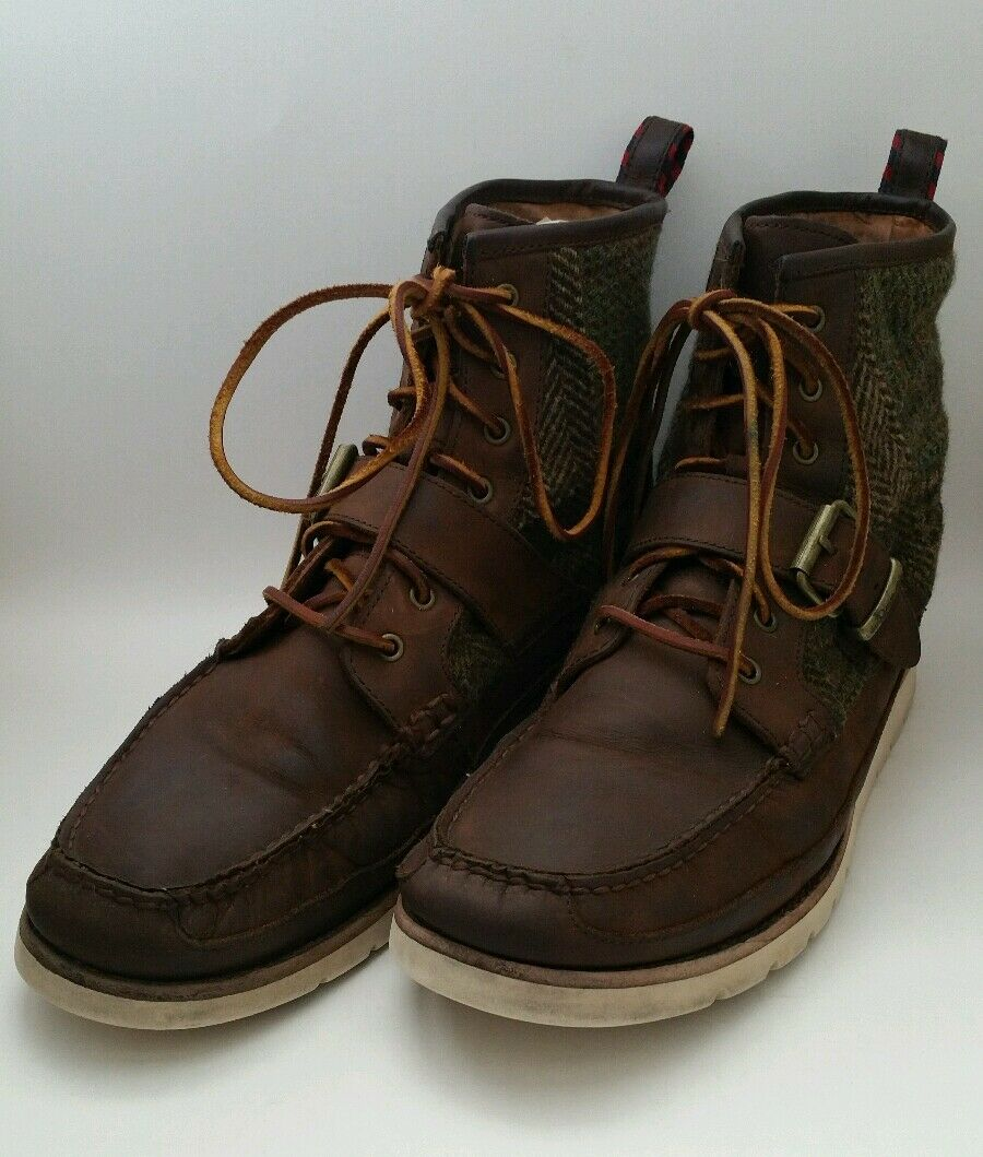 Polo Ralph Lauren Saddleworth Mens Brown Leather Boots size 11 Wool Blend Plaid