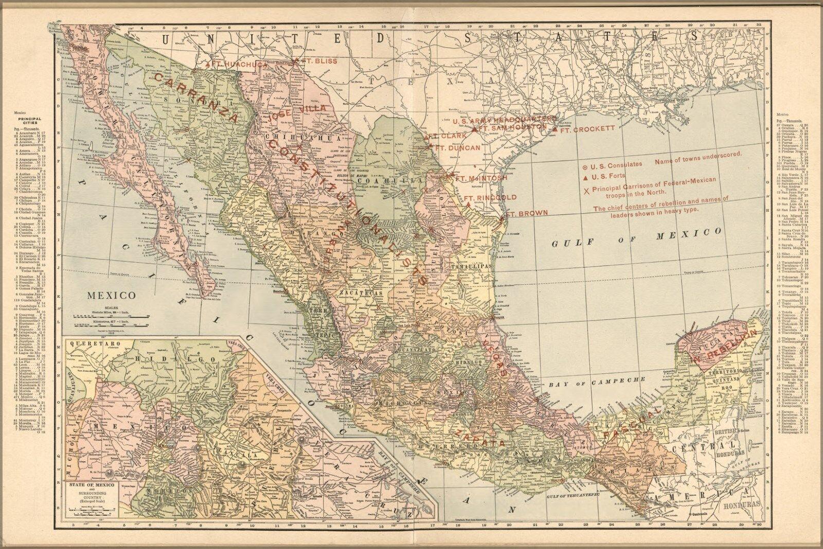 Poster, Molte Misure; Mappa Mappa Mappa Del Mexico 1913 b2d81b