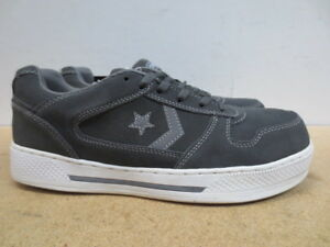 2b7ed28a8cd8 Men s Converse Grey Safety Toe Flat Wedge Skater Work Shoe Size 6.5 ...