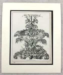 1859-Print-Victorian-Table-Centerpiece-Rare-Pineapple-Stand-Original-Antique