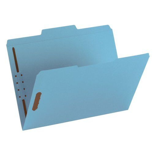 Smead 12040 blueee colord Fastener File Folders With Reinforced Tabs - Letter -
