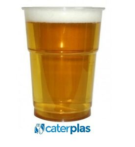 100 x CLEAR DISPOSABLE PLASTIC HALF 1//2 PINT BEER GLASSES STRONG