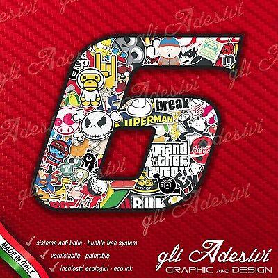 """Adesivo Numero Gara per Moto /""""6/"""" Sticker Bomb 10 x 7,5 cm"""