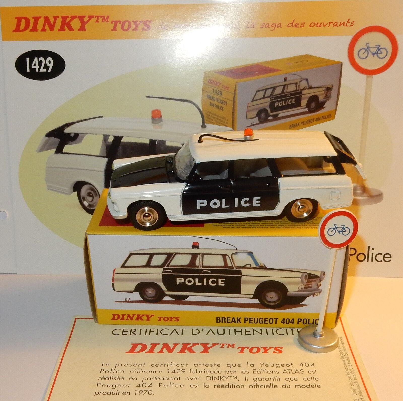 DINKY TOYS ATLAS PEUGEOT 404 POLICE PIE + PANNEAU 1 43 REF 1429 IN BOX