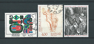 TABLEAUX-d-039-ART-1983-YT-2263-a-2265-TIMBRES-OBL-USED