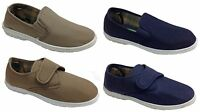 New Mens Canvas Shoes Slip On Velcro Casual Navy Honey Comfort Everyday Soft