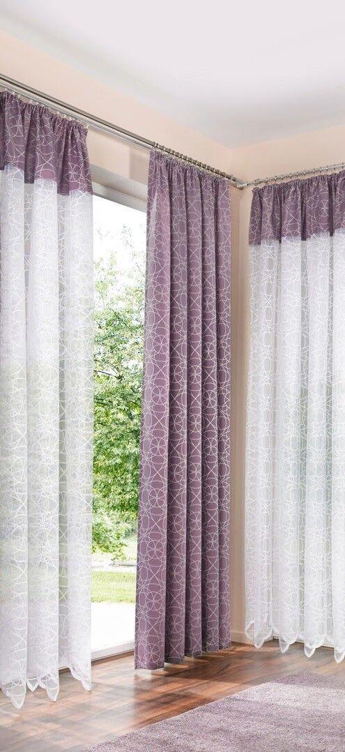 Fertiggardine Stores Vorhang Fliederfarbenen Bordüre H  175 x L  750 cm  | Zu einem niedrigeren Preis  | Verschiedene Arten und Stile  | Kaufen