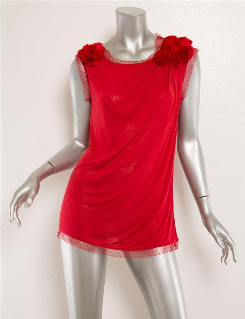 Valentino Damen Rot Rosatte T-Shirt Kontur Ärmelloses Top BlauSE 8 Neu
