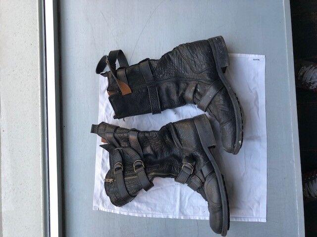 Area Forte Stiefel hoch Biker schwarz Gr.45 11 11 11 Stiefel Leder Lederstiefel Stiefel 4635a2