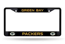 Green Bay Packers Custom Black LBL Frame Metal Chrome License Plate Tag Cover